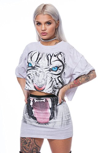 Rompers V Prints Tiger Women's Top Sleeve Crop White Dress 2 Short Pieces Outfit Mini Set Neck 06fnHa5f