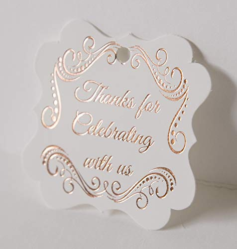 Fancy Frame Thank You Tags, Rose Gold Foil Print, 30-Pack, Arabesque Party Collection (Rose Gold Tags Frame 1) -