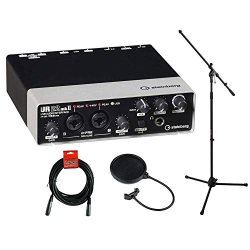 Steinberg UR22mkII USB 2.0 Audio Interface with Dual Microphone Preamps, MS-5230F Tripod Microphone Stand, XLR-XLR Cable & Pop Filter Kit