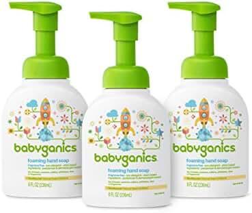 Babyganics Foaming Hand Soap, Fragrance Free, 8 oz Pump Bottle (Pack of 3)