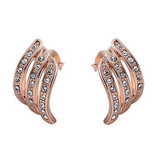 HCDjgh Earings Studs For Women Gold Elegant Diamond Ear Stud Exquisite For Women Wedding Earrings For Brides(Rose Gold) from HCDjgh