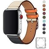 WFEAGL コンパチブル Apple Watch バンド,は本革レザーを使い、iWatch Series4/3/2/1、Sport、Edition向けのバンド交換ストラップです コンパチブル アップルウォッチ バンド (42mm 44mm, ダークブルーのアイボリー バンド+シルバー 四角い バックル)