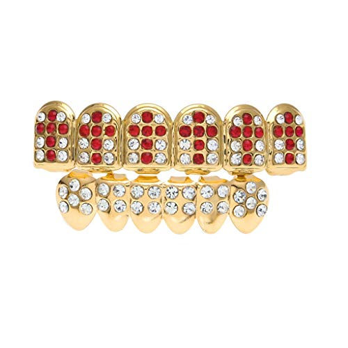 Never give up. Braces Hip hop Gold-Plated Big Gold Teeth with Diamonds Set of Colored Diamonds Cross Pattern (Color : Red, Edition : 2) ()
