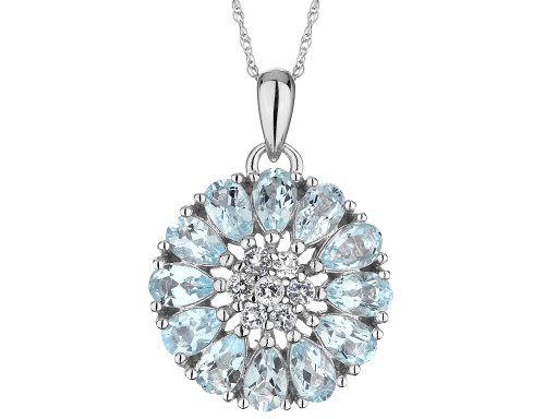 Large Created Aquamarine Flower Pendant Necklace with White Topaz in Sterling Silver with Chain