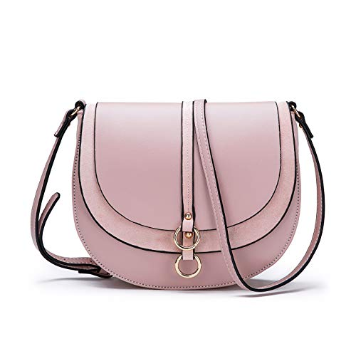 Women Crossbody Bag Saddle Shoulder Bag Small Purse Pink Hasp Satchel and Tote PU Leather