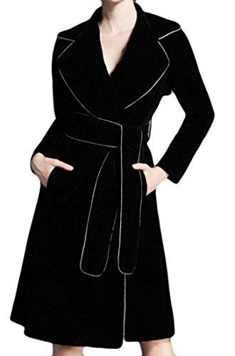 LD Womens Fashion Lapel Wrap Belted Velvet Slim Trench Coats Jacket Black US L (Velvet Belted Coat)