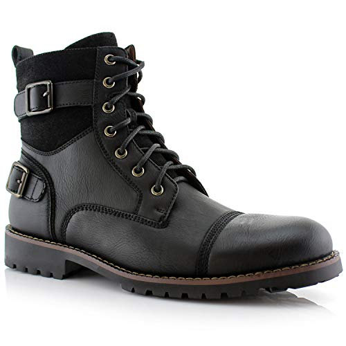 Polar Fox Men's Patrick Combat Boot Black 7.5 Medium US