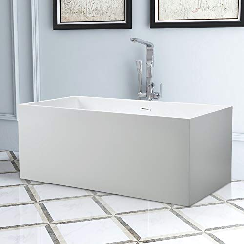 Vanity Art Freestanding Acrylic Bathtub | Modern Stand Alone Soaking Tub with Chrome Finish, UPC Certified, Easy to Install, Round Overflow & Pop-up Drain - VA6813B-S