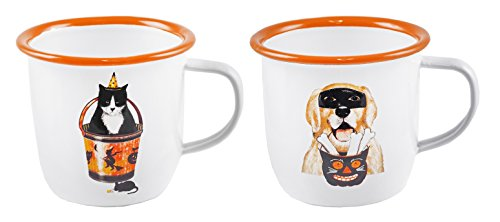 Dressed Up Cat & Dog Halloween Enameled Mugs Set of (2 Dogs Holding A Present Costume)