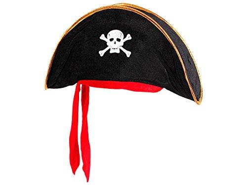 Alsino Piratenhut Kinder Seeräuber Totenkopf Hut Piratenparty Kostüm , wählen:PH-07 schwarz gold rot