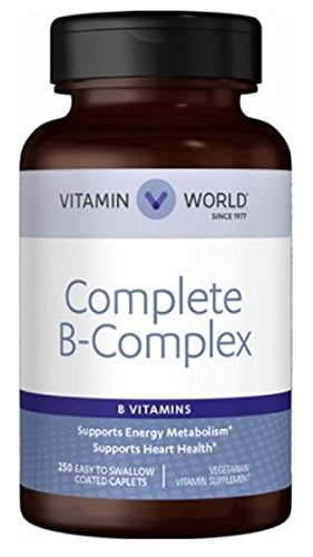 Vitamin World Complete B-Complex • B Vitamins support energy metabolism** • Contribute to heart health** • Support a healthy nervous system** 250 caplets