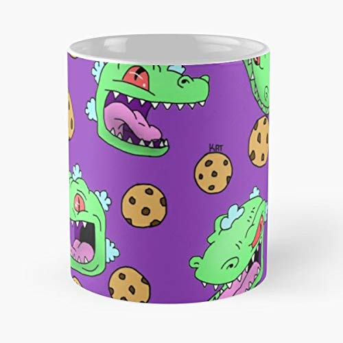 Dinosaur Cookie Cookies Green - 11 Oz Coffee Mugs Unique Ceramic Novelty Cup, The Best Gift For -