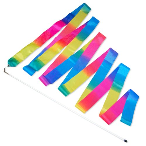 Gymnastic Twirling Ribbon - Rainbow (5m) Firetoys.com