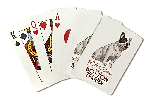(Boston Terrier - Life is Better - White Background (Playing Card Deck - 52 Card Poker Size with Jokers))