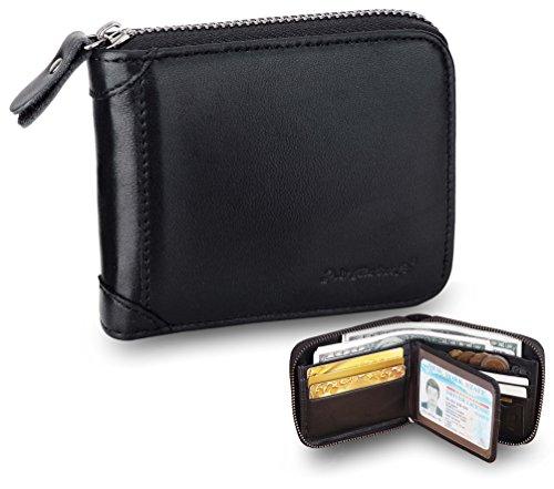 Wallet for Men-RFID Blocking Bifold Wallet Zipper Leather Wallet Card Holder Black