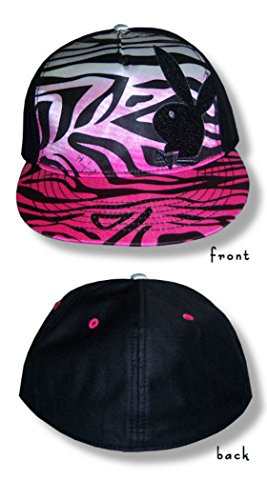 (Official Playboy Bunny Rhinestone Logo Pink Zebra Cap Fitted Hat (SM/MD))