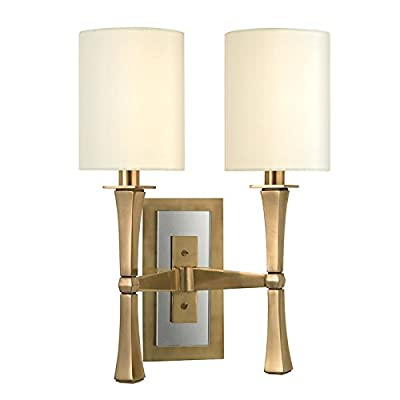 York 1-Light Wall Sconce - Aged Brass Finish with White Faux Silk Shade