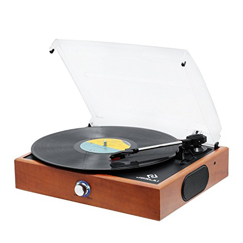 Transparent Antique (JORLAI Wooden Record Player, Turntables Vinyl Records, 33 45 78 RPM Record Player Speakers, Vinyl to MP3 Recording Capable, RCA Output, 3.5mm AUX Input, Volume Control - Wood)