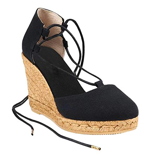 Womens Espadrille Platform Wedge Sandals Closed Toe Lace Up Ankle Wrap Sandals
