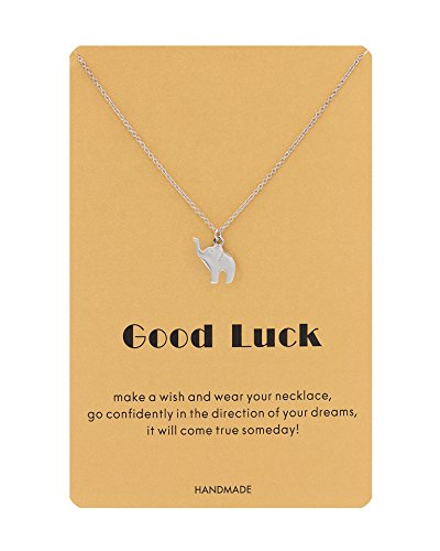 Zealmer Good Luck Elephant Necklace Make a Wish Lucky Elephant Pendant Necklace with Message Card - Make A Wish Necklace