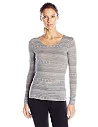 32Degrees Women\'s Heat Crew Neck Thermal Top with Print, Fair Isle Heather Grey, Large
