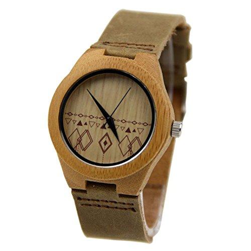 Biao&MZ La nueva madera relojes Unisex / natural madera / bambú / par de reloj / correa de cuero / regalo / usable / accesorios , men