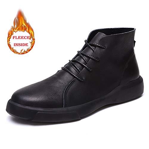 Alta De Pincel Invierno Interior Bota Casual Black Retro Trabajo Zapatos Color Forro convencional Masculina Faux Warm Opcional Botín Chenjuan Moda qZxwIP