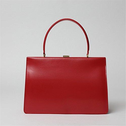 Xuanbao La Bolsa de Asas roja del Cuero Retro de la Caja La Bolsa de Asas del Bolsillo de la Tarjeta Salvaje (Color : Marrón) Rojo