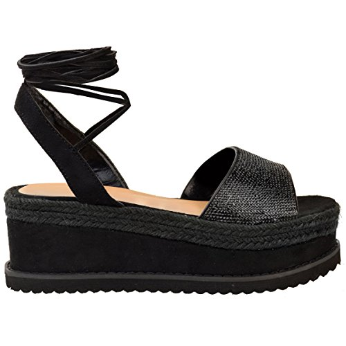 Faux Wedge Summer Up Platform Sandals Womens Size Thirsty Shoes Lace Ankle Flatforms Suede Fashion Black xCc0aROqwW