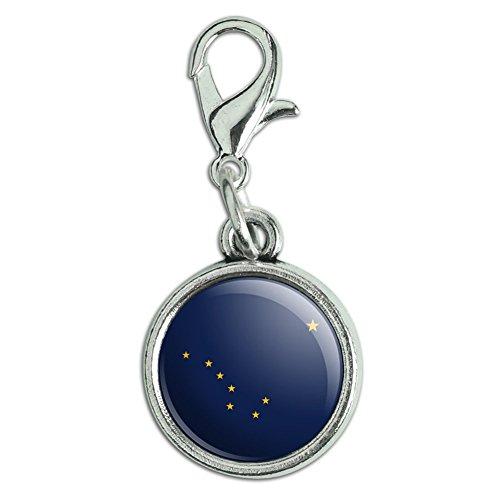 - Antiqued Bracelet Pendant Zipper Pull Charm with Lobster Clasp State Flag - Alaska State Flag