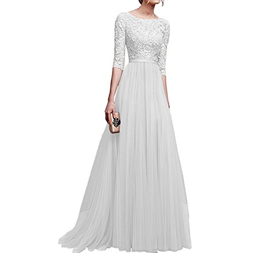 Women's Vintage Floral Lace 3/4 Sleeves Long Cocktail Bridesmaid Maxi Dress Floor Length Retro Formal Wedding Pageant Evening Prom Party Dance Gown Plus Size V-Neck Pleated Swing Dress White XXL