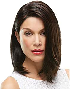 Black lady highlights straight hair, inside buckle mature temperament pop wig