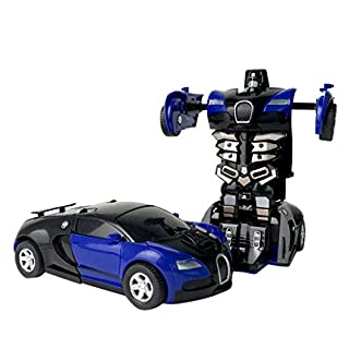 1:32 Pull Back The Collision Car Children Deformation Car Robot Toy for Kids - One Button Deformation Car Model Toy - Transformation Vehicle Perfect for Birthday Gift (Blue - A)