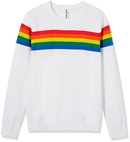 Kid Nation Girls' Long Sleeve Rainbow Pullover Sweater Size M White