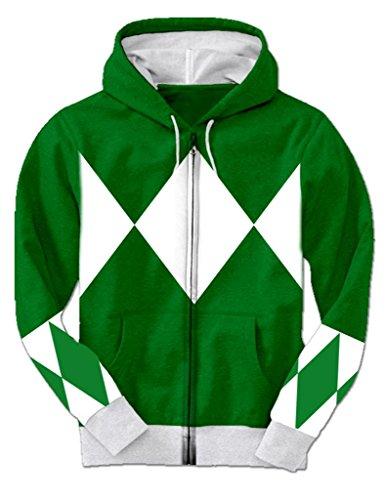 Green Power Rangers Hooded Costume Sweatshirt (Adult XXX-Large) (Power Rangers Green Ranger Costume)