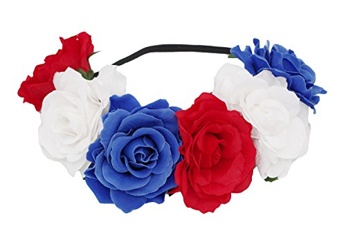 DreamLily 4th of July Patriotic Stretch Flower Headband Festival Rose Crown Party BC12 (Red White Blue) ()