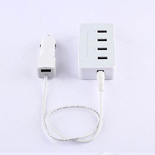 Car Power Bank NEW 5 Ports Desktop USB Hub Car Charger & Power Bank Power Supply for iPhone / iPad / Samsung Galaxy / HTC / Digital Camera PDA (White) WITH FREE NOOSY NANO SIM ADAPTER