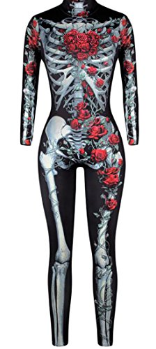 tescous Women Halloween Cosplay Costume 3D Skeleton Catsuit Romper Jumpsuit 1 S