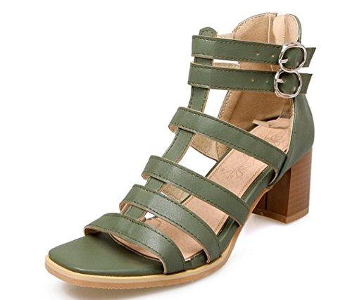 5cm Rough Hebilla Xie 39 Heel Lady Toe Cómodo Colores Brown Tres Dew 36 Green Permeabilidad Diario Shoes Verano Cinturón Estudiantes BZq1S