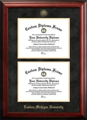 Frame Double University (Eastern Michigan University Double Degree Diploma Frame)