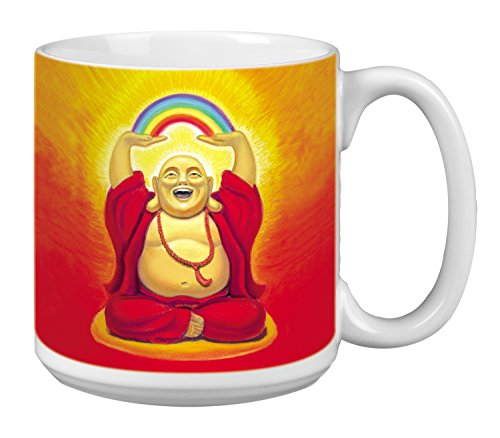 Buddha Extra Large Mug, 20-Ounce Ceramic Coffee Mug Cup, Buddha Laughing Themed Zen Art - New Age Inspirational Gifts (XM29492) Tree-Free Greetings