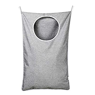 KEEPJOY Hanging Laundry Hamper Bag with Free Adjustable Stainless Steel Door 2 PCs Suction Cup Hooks, Best Choice for Holding Dirty Clothes and Saving Space, Grey - Size: 30*20*2 in - It has an extra large capacity to collect all of your families clothes. High-Quality Material - Hanging Laundry Bag is made of best Oxford fabric, durable and easy to washable. Unique Zipper Design - Back side zipper at the bottom for easier and quicker unloading. - laundry-room, hampers-baskets, entryway-laundry-room - 41OqxlHeOnL. SS400  -