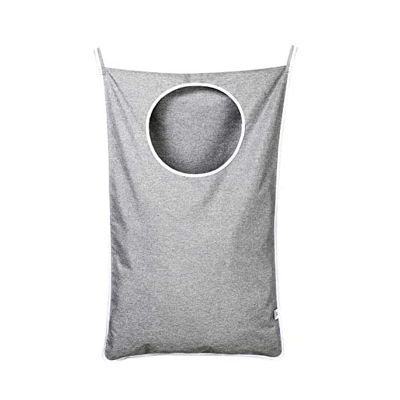 KEEPJOY Hanging Laundry Hamper Bag with Free Adjustable Stainless Steel Door 2 PCs Suction Cup Hooks, Best Choice for Holding Dirty Clothes and Saving Space, Grey - Size: 30*20*2 in - It has an extra large capacity to collect all of your families clothes. High-Quality Material - Hanging Laundry Bag is made of best Oxford fabric, durable and easy to washable. Unique Zipper Design - Back side zipper at the bottom for easier and quicker unloading. - laundry-room, hampers-baskets, entryway-laundry-room - 41OqxlHeOnL. SS570  -