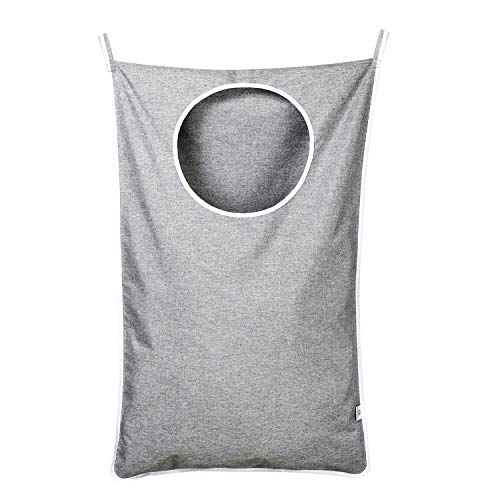 KEEPJOY Hanging Laundry Hamper Bag with Free Adjustable Stainless Steel Door 2 PCs Suction Cup Hooks, Best Choice for Holding Dirty Clothes and Saving Space, Grey (Hamper The Over Door Clothes)