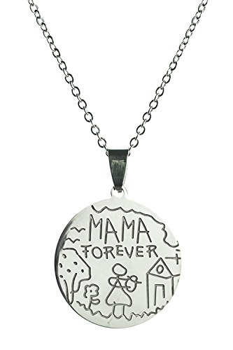 Mama Forever - Handmade Steel Pendant Necklace by Beautifly with a 16-inch Chain Pugster Mickey Mouse Charm