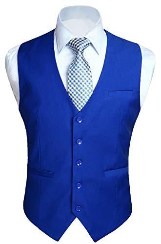 HISDERN Men's Suit Vest Business Formal Dress Waistcoat Vest with 3 Pockets for Suit or Tuxedo Royal Blue -