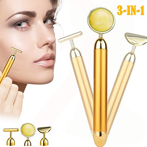 (3-in-1 Beauty Bar 24k Gold Skin Care Facial Massager,Electric Face Massage Tools, Instant Face Lift, Anti-Wrinkles and Aging,Skin Tightening, Face Firming, Eliminate Dark Circles)