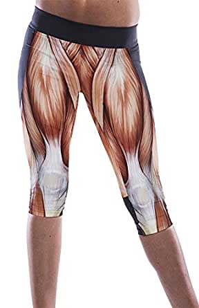 Fashion Womens Brown Muscle Print High Waist Yoga Workout Capris Pants