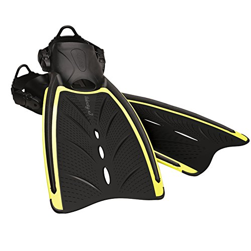 (Aeris Velocity X3 Scuba Diving Open Heel Adjustable Fins (reg (m10-12/w11-13), Yellow))