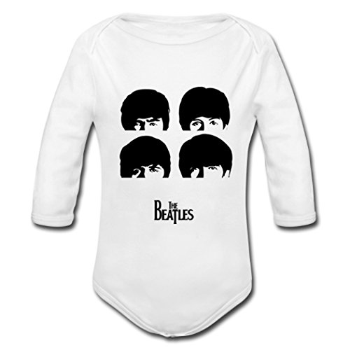 AHHCHI Beatles Silhouette 3 Months Baby White Organic Bodysuits Toddler Cotton Rompers